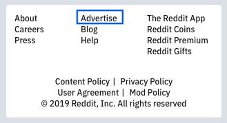 Reddit advertise link on their website