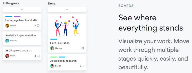 Asana showing their software in action on their landing page