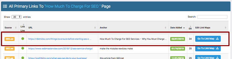 results of SEO anchor link tactic