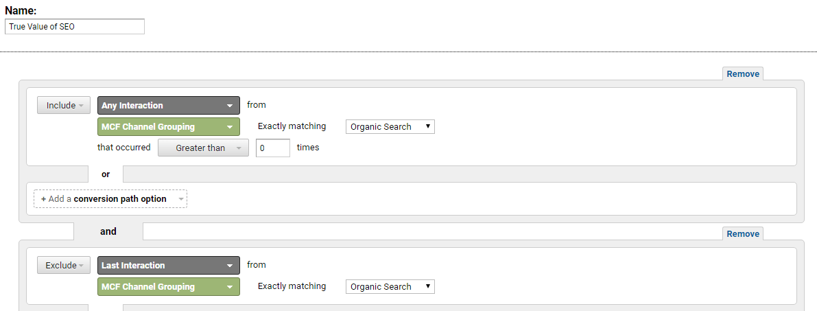 MCF Channel grouping in Google Analytics