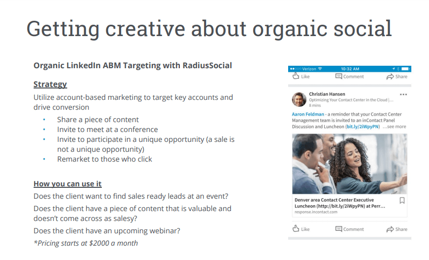 Creative organic social media for software industry
