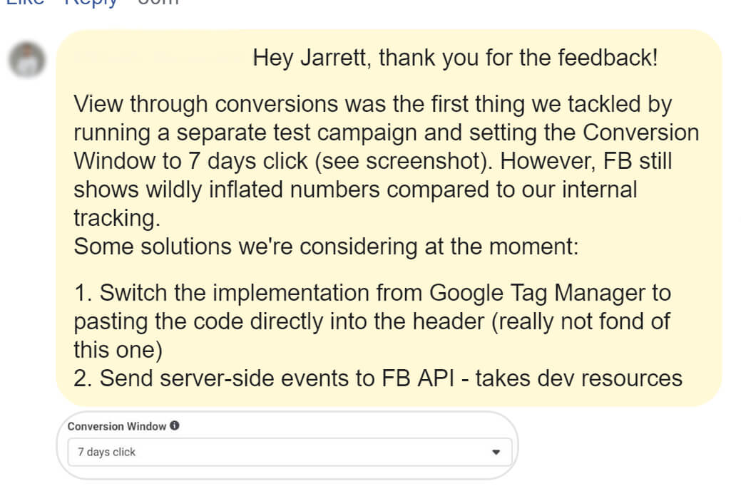Facebook attribution discrepancy question followup