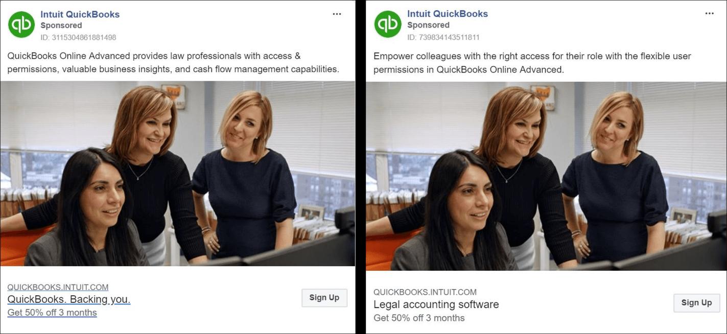 QuickBooks Facebook Ad Example