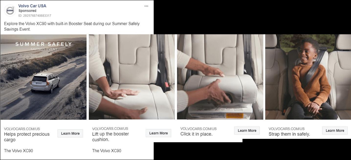 Volvo Canvas Facebook Ad Example