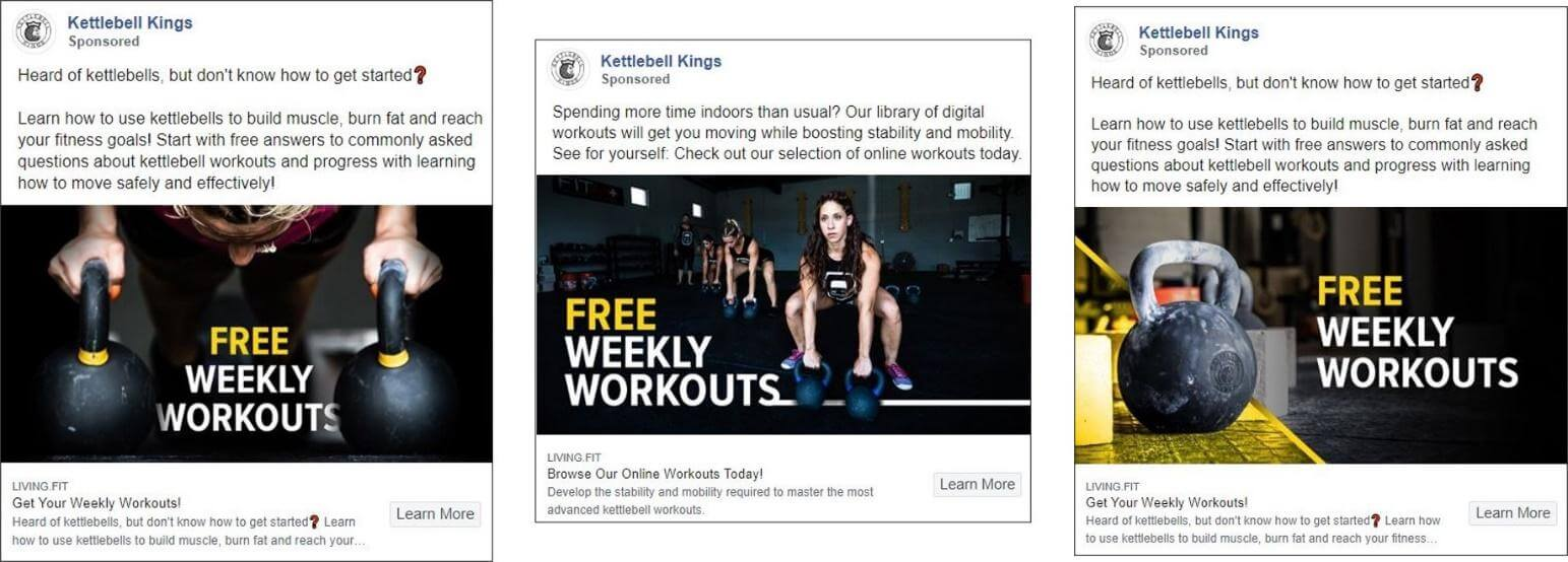 Kettlebell Kings Facebook Ad Examples