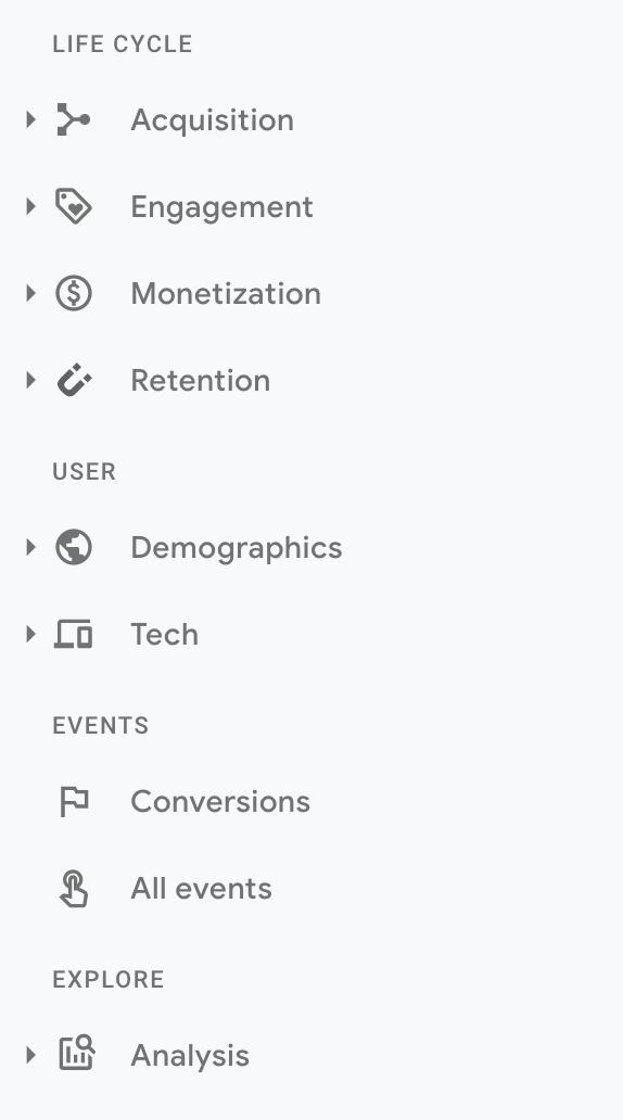 New Google Analytics 4 sidebar navigation
