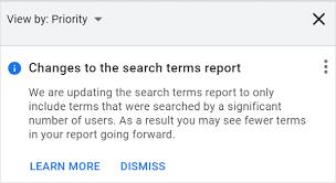 Google Search Term report update