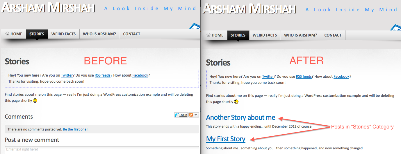 Before & After of adding posts to pages in WordPress