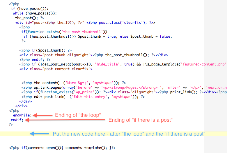 WordPress Page Template Code Loop